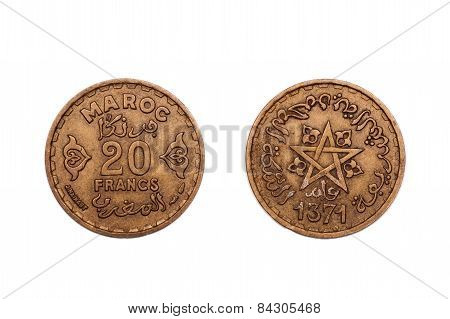 Twenty Francs coin from Morocco dated 1371