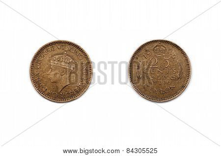 Twenty-Five cents coin from Ceylon dated 1943
