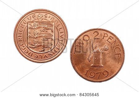 Two pence coin from Guernsey dated 1979.