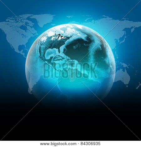 Blue earth globe with continents, transparent. World map on dark background
