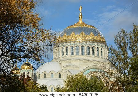 Orthodox Cathedral Of St. Nicholas In Town Kronshtadt, Russia. Second Name Of Cathedral Is