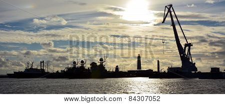 Old Shipyard At The Sunset, Kronshtadt, Russia