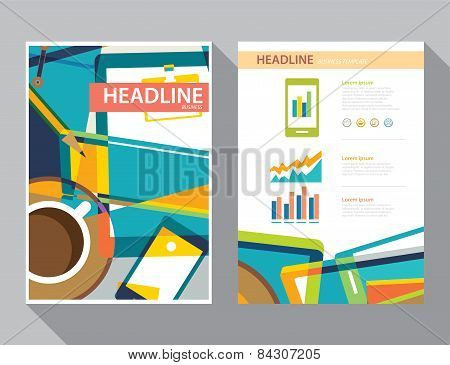 Set Of Magazine Cover , Flyer, Brochure Flat Design Templates