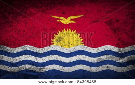 Flag Of Kiribati With Old Texture. Vector