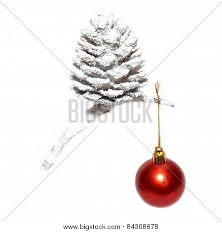 Christmas Snow Cone With Red Bauble.
