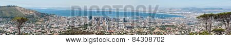 Panorama Of Cape Town City Center And Harbor