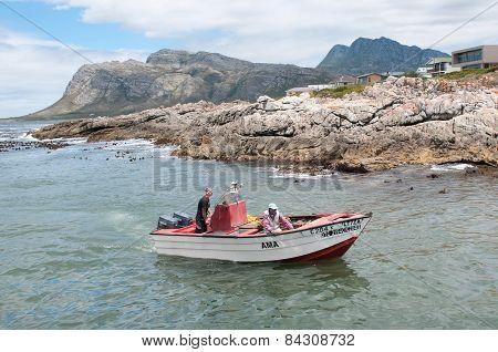 Crayfish Boat Arriving At Kleinmond Harbor
