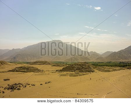 Caral City Ancient Civilization Supe Ruins