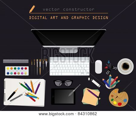 Digital art and graphic design. Working place in flat design. Constructor of your own work space
