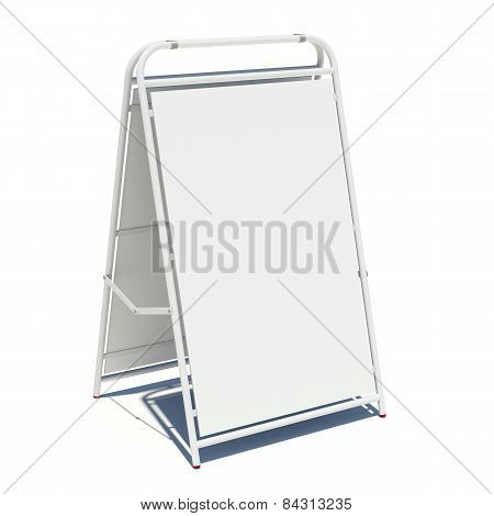 White sidewalk sign with empty surface