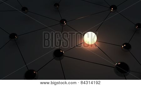 3d render of abstract network on dark background