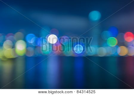 Blur image of Hongkong city with circle bokeh