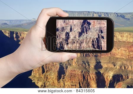 Taking Photo Of Rocky Mountains In Grand Canyon