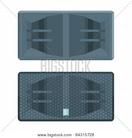 color flat style horn system concert double subwoofer speaker illustration