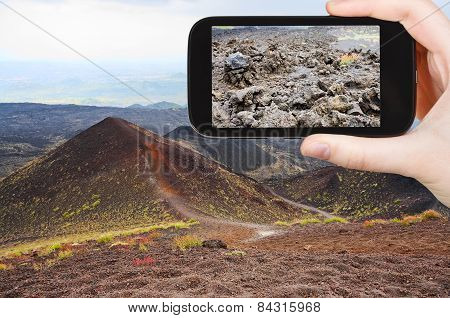 Tourist Taking Photo Of Craters Volcano Etna