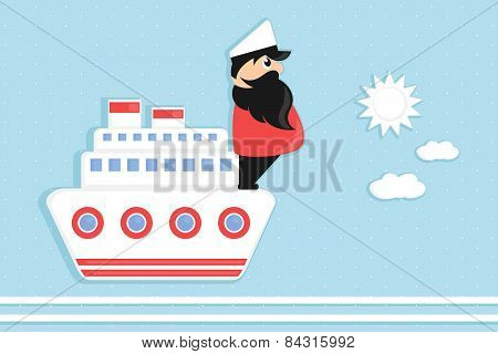 cartoon sea captain on a boat