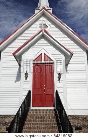 Close-up of Red Church Doors