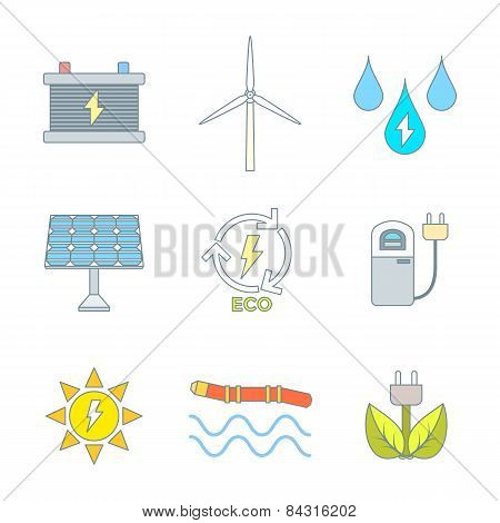 colored outline recycle ecology energy icons