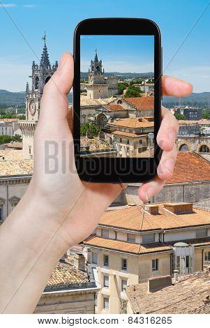 Tourist Taking Photo Of Avignons City