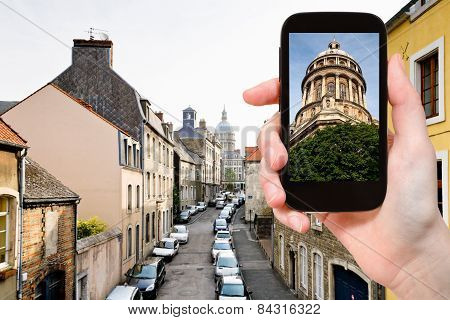 Tourist Taking Photo Of Boulogne-sur-mer, France