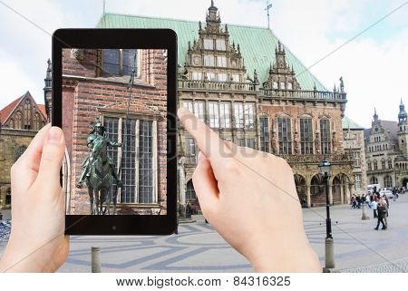 Tourist Taking Photo Of Bremen Town Hall