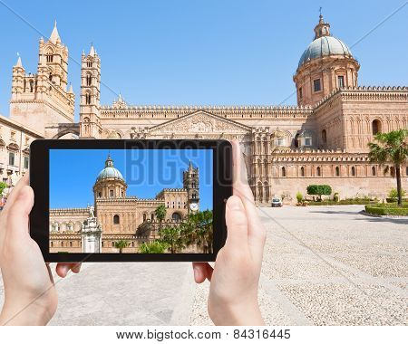 Tourist Taking Photo Of Cathedral Of Palermo
