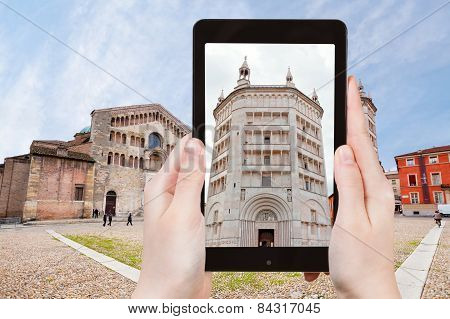 Tourist Taking Photo Of Baptistery In Parma