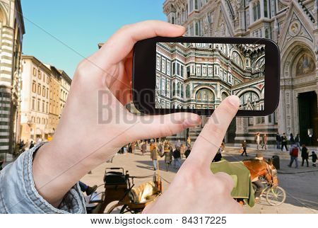 Tourist Taking Photo Of The Basilica, Italy