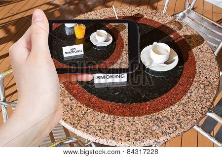 Tourist Taking Photo Of Fresh Juice And Coffee