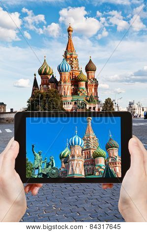Tourist Taking Photo Of Cathedral On Red Square