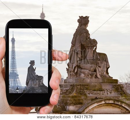 Photo Of Statue Marseille And Eiffel Tower, Paris