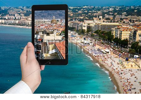 Tourist Taking Photo Of Nice City On Azure Coast