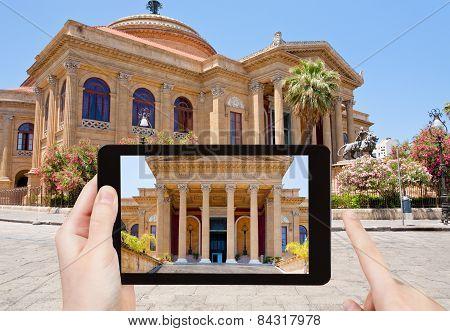 Tourist Taking Photo Of Teatro Massimo, Palermo