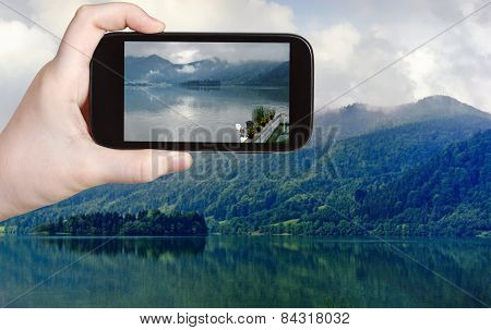 Tourist Taking Photo Of Schliersee Lake, Bavaria