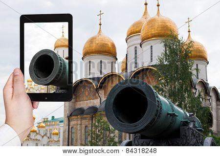 Tourist Taking Photo Of Tsar Cannon In Kremlin