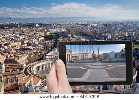 Tourist Taking Photo Of St.peter Square, Rome