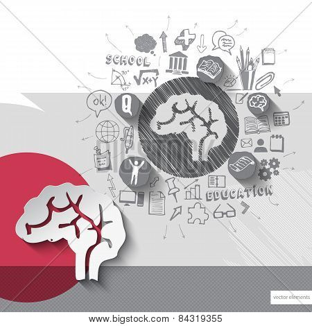 Paper and hand drawn brain emblem with icons background