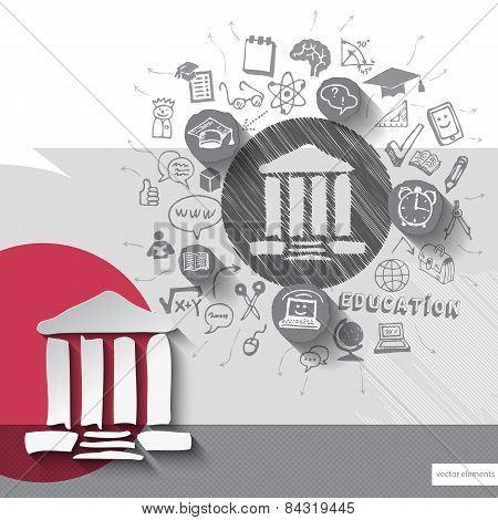 Paper and hand drawn university emblem with icons background