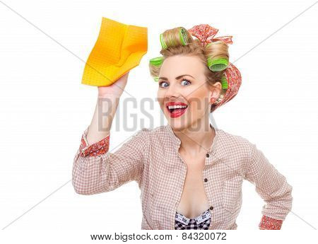 Funny Young Surprised Housewife Holding Rag / Wipe, Isolated On White. Pin-up Girl