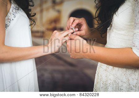 portrait of beautiful lesbian couple wedding