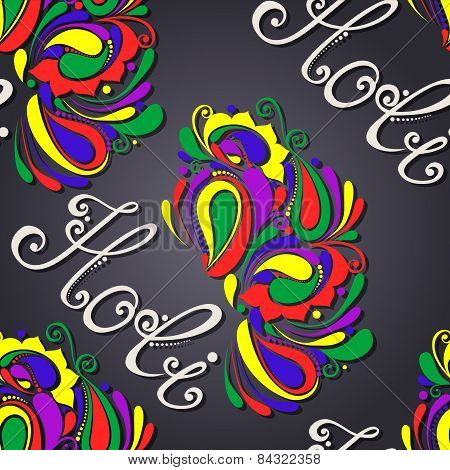 Vector Seamless Ornate Holi Background. Holi Lettering