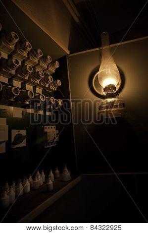 Old Kerosene Lamp And Fuses