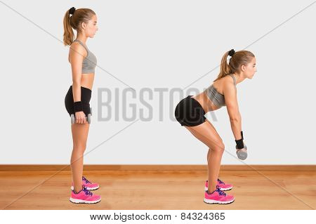 Woman Doing Dumbbell Deadlift
