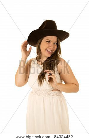 Adorable Young Cowgirl Wearing A White Dress Smiling