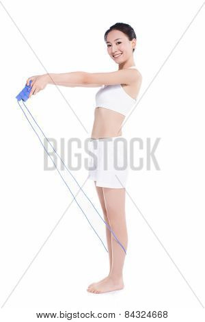 Young Girl Jumping Rope, White Background
