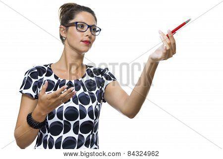 Serious Woman In A Dress Holding Ballpoint Pen