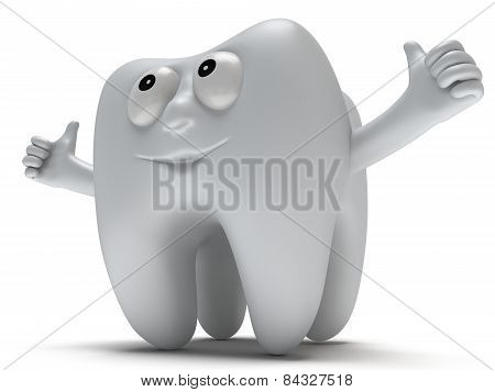 Cute Healthy Tooth With Hands Shows Thumbs Up