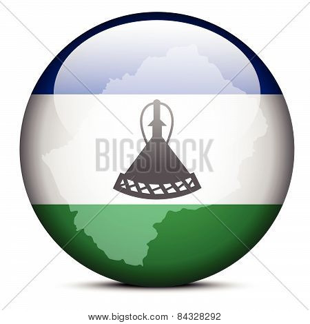 Map On Flag Button Of Lesotho