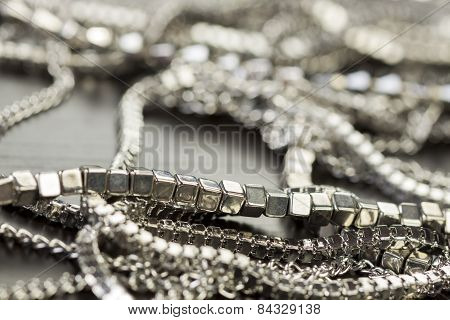 Pile Of Assorted Silver Chains