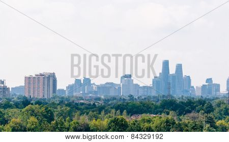 Mississauga Urban Skyline And Trees